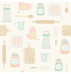 Kitchen utensils pattern vector image vector image