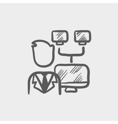 Man screen with camera sketch icon vector image
