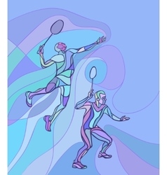 Mens doubles badminton players color vector