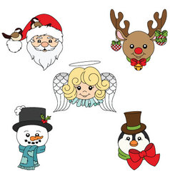 Merry holiday character faces set vector