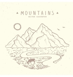 Mountains sketch nature vector