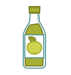 Natural organic green apple juice in glass bottle vector