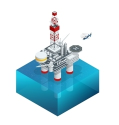 Oil and gas platform in the gulf or the sea the vector
