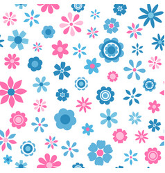 seamless pattern with blue and pink flowers vector image vector image