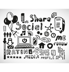 Set of hand drawn social doodles vector image