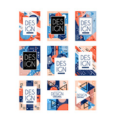 Set of memphis style cards colorful abstract vector