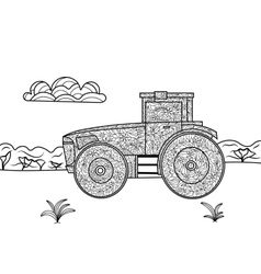 Tractor coloring book for adults vector image