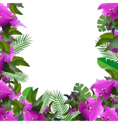 Tropical leaves floral design background vector