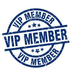 Vip member blue round grunge stamp vector
