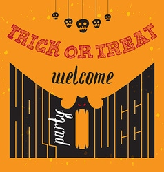 Welcome to Halloween Party Poster with hand vector image