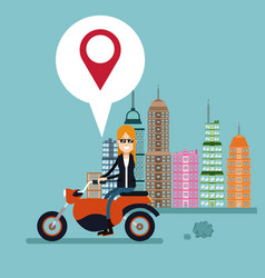 Woman motorcycle location urban background vector