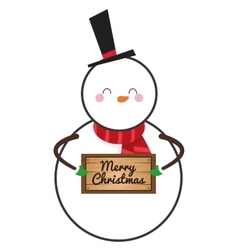 Cute snowman holding sign icon vector