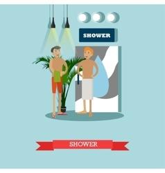 Men taking shower in fitness center concept vector