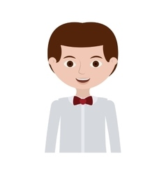 half body man with formal shirt and bowtie vector image