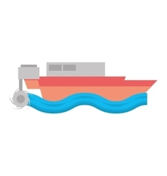 Cartoon boat beach sea wave vector