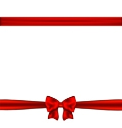 Red ribbon bow horizontal border vector