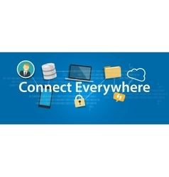 Connect everywhere anywhere working mobile vector
