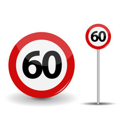 Round red road sign speed limit 60 kilometers per vector