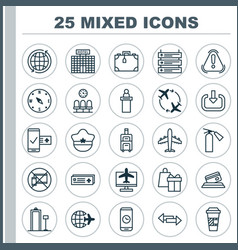 Travel icons set collection of airliner fly vector