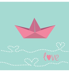 Origami paper boat love card vector