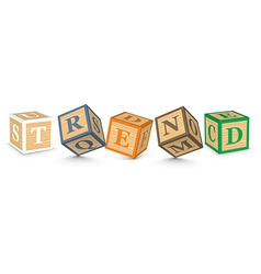 Word trend written with alphabet blocks vector