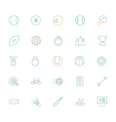 Sports colored line icons vector