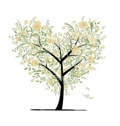 Floral love tree for your design heart shape vector