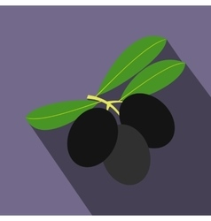 Olives on branch with leaves icon flat style vector