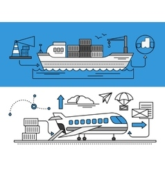 Freight forwarding by sea and air vector
