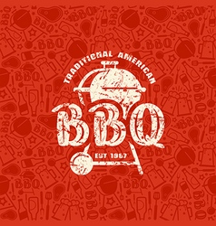 Barbecue seamless pattern and emblem vector