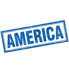 America blue square grunge stamp on white vector