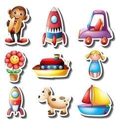 Sticker set of toys vector