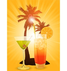 Tropical cocktails vector