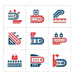 Set color icons of conveyor vector