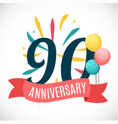 Anniversary 90 years template with ribbon vector