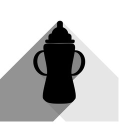baby bottle sign black icon with two flat vector image