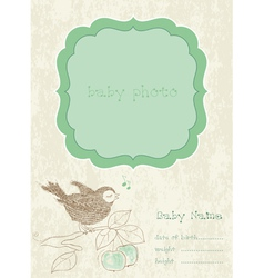 baby boy arrival card with photo frame and place f vector image