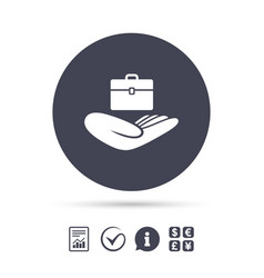 Baggage insurance sign hand holds luggage vector