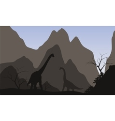 Brachiosaurus silhouette with mountain vector image vector image