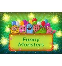 Cartoon Monsters Background vector image vector image