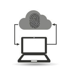 cloud computer connected fingerprint secure vector image