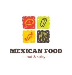 colorful mexican food logo Mexican vector image