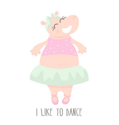 Cute baby hippo ballerina dancing cartoon hand vector