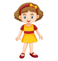 Cute girl standing on white background vector