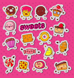 Cute sweet food candy characters doodle vector