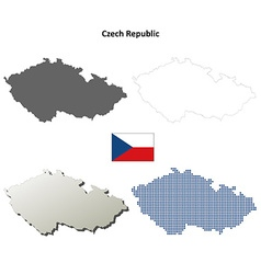 Czech republic outline map set vector