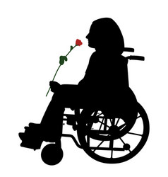 disabled person in wheelchair with red rose vector image