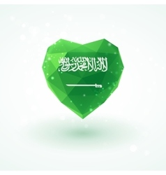 Flag of saudi arabia in shape diamond glass heart vector