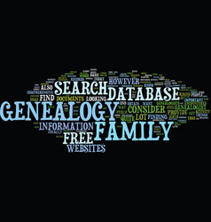 free genealogy database text background word vector image vector image