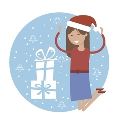 Happy girl in jumping for joy near xmas gifts vector
